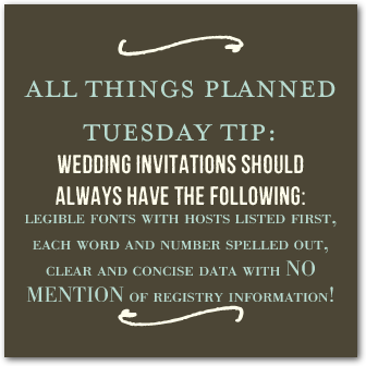 Tuesday Tip Wedding Stationery